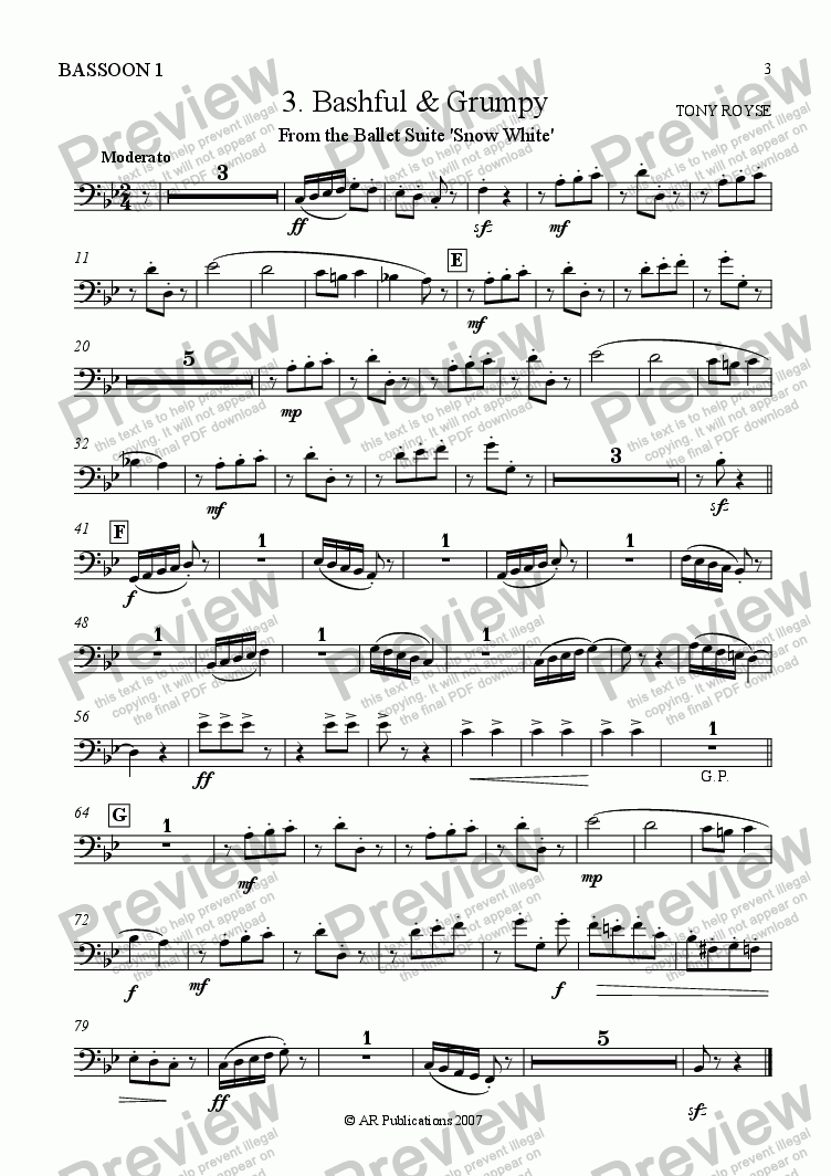 page one of the Bassoon 1 part from Suite - SNOW WHITE - 3. Bashful & Grumpy
