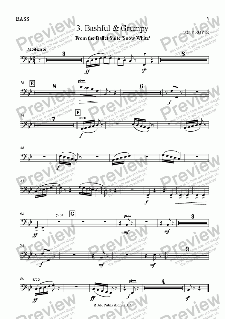 page one of the Bass part from Suite - SNOW WHITE - 3. Bashful & Grumpy