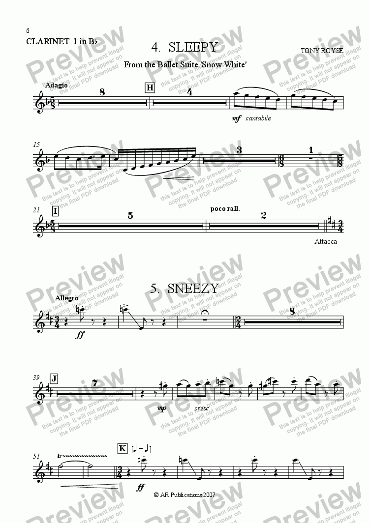 page one of the Clarinet 1 in B flat part from Suite - SNOW WHITE - 4. Sleepy & Sneezy
