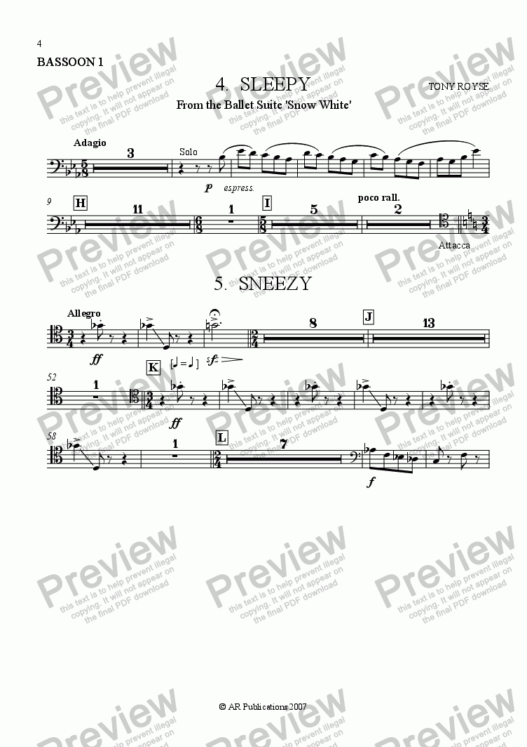 page one of the Bassoon 1 part from Suite - SNOW WHITE - 4. Sleepy & Sneezy