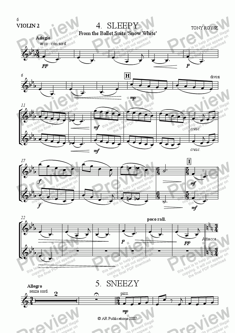 page one of the Violin 2 part from Suite - SNOW WHITE - 4. Sleepy & Sneezy