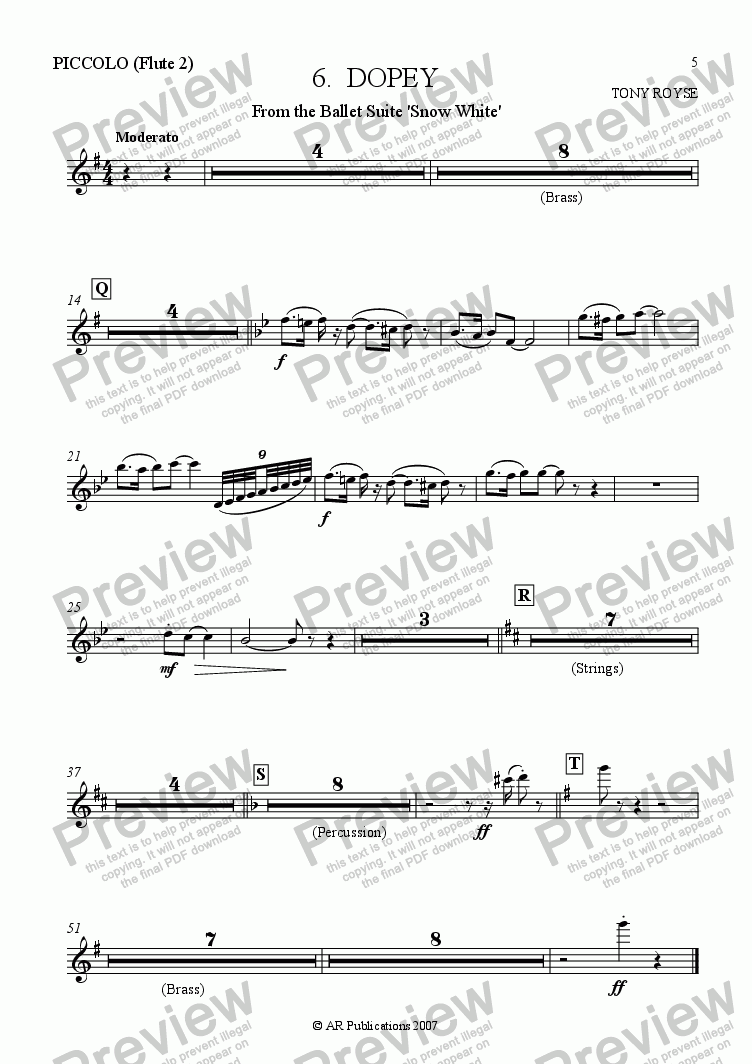 page one of the Flute 2 (Picc.) part from Suite - SNOW WHITE - 5. Dopey