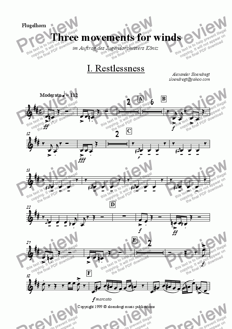page one of the flugelhorn part from Three movements for winds