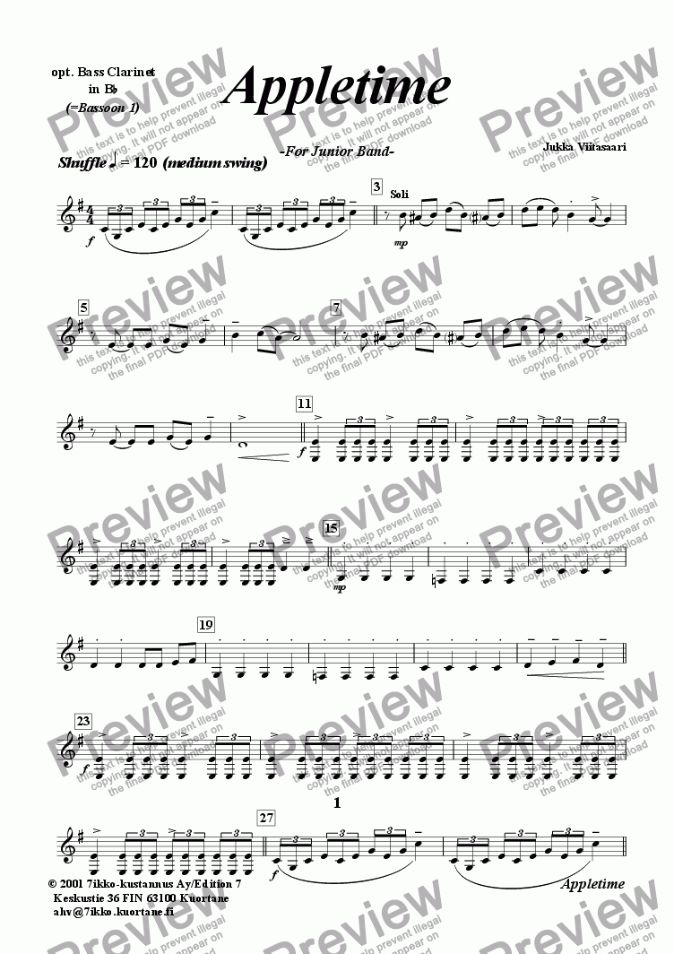 page one of the opt. Bass Cl. (=Bsn 1) part from Appletime (youth band)