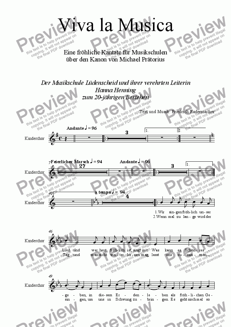 page one of the Chorstimmen part from Viva la Musica