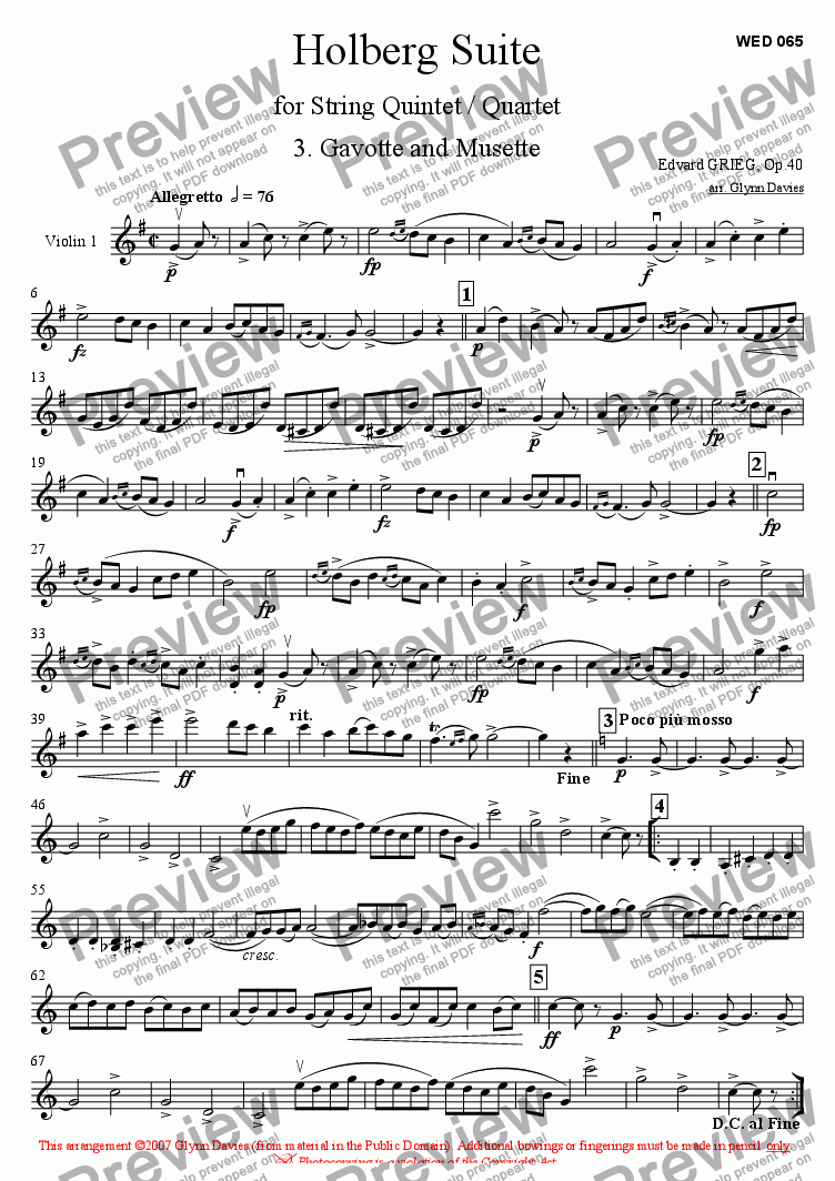 page one of the Violin 1 part from Holberg Suite - 3. Gavotte and Musette