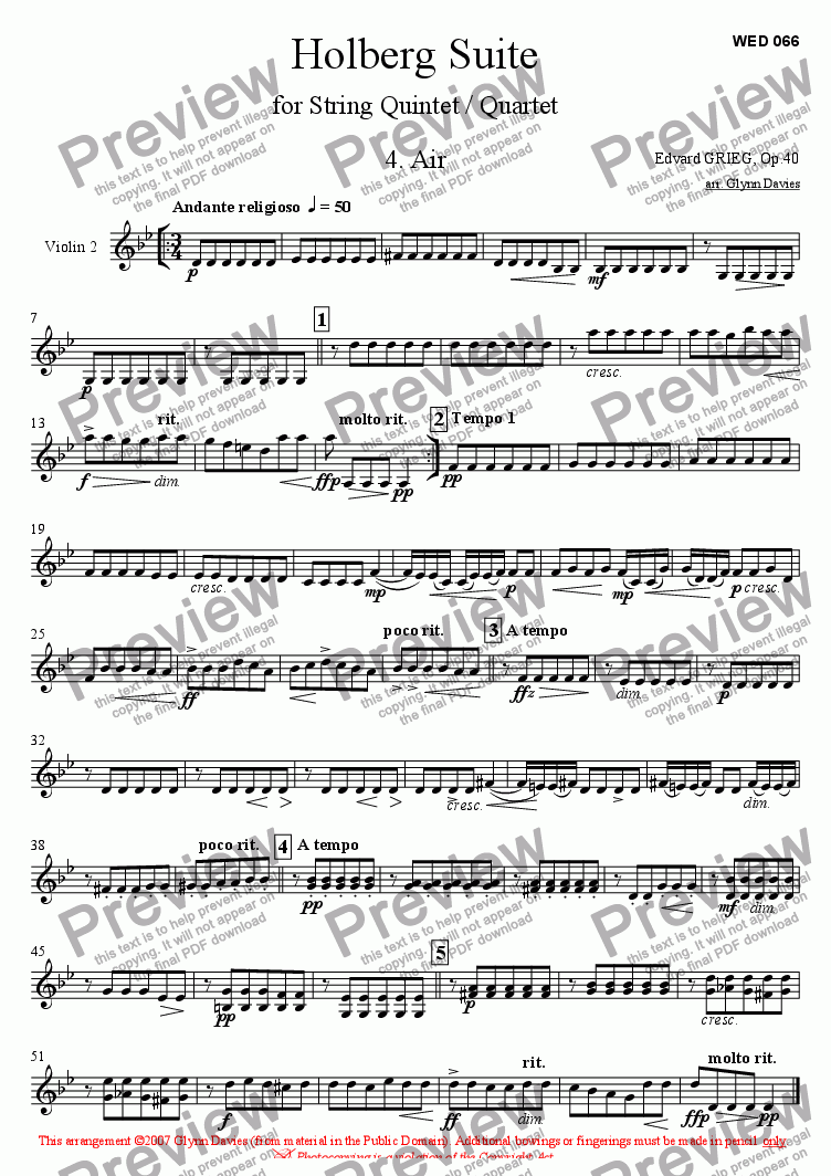 page one of the Violin 2 part from Holberg Suite - 4. Air