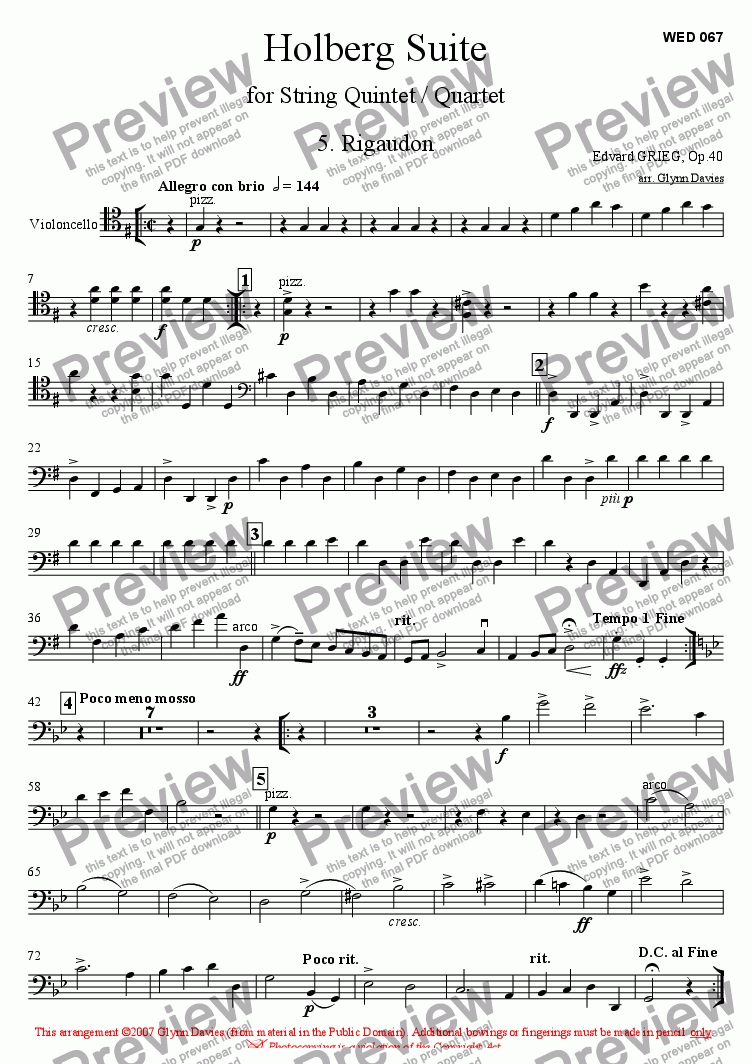 page one of the Cello part from Holberg Suite - 5. Rigaudon