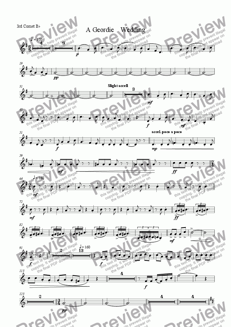 page one of the 3rd cornet/trumpet part from A Geordie Wedding