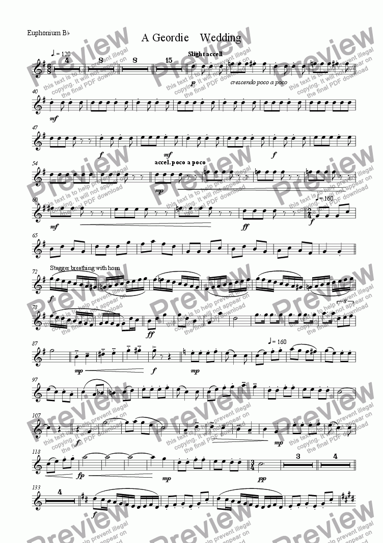 page one of the euphonium/tenor tuba part from A Geordie Wedding