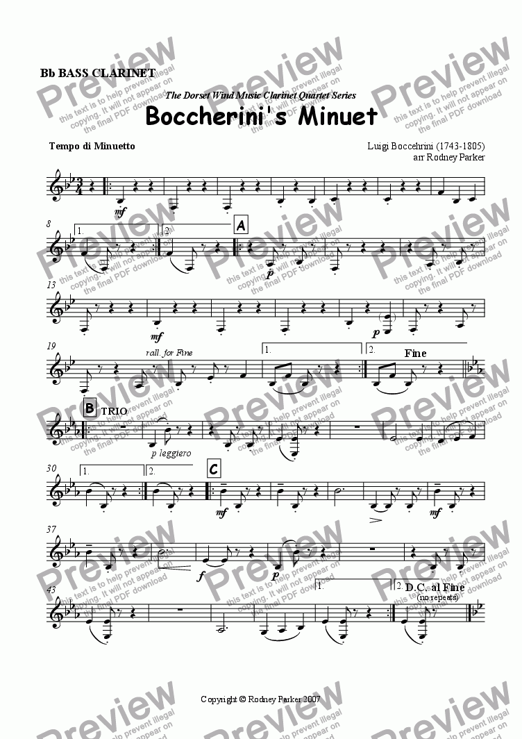 page one of the Bass Clarinet part from Boccherini's Minuet arr for Clarinet Quartet