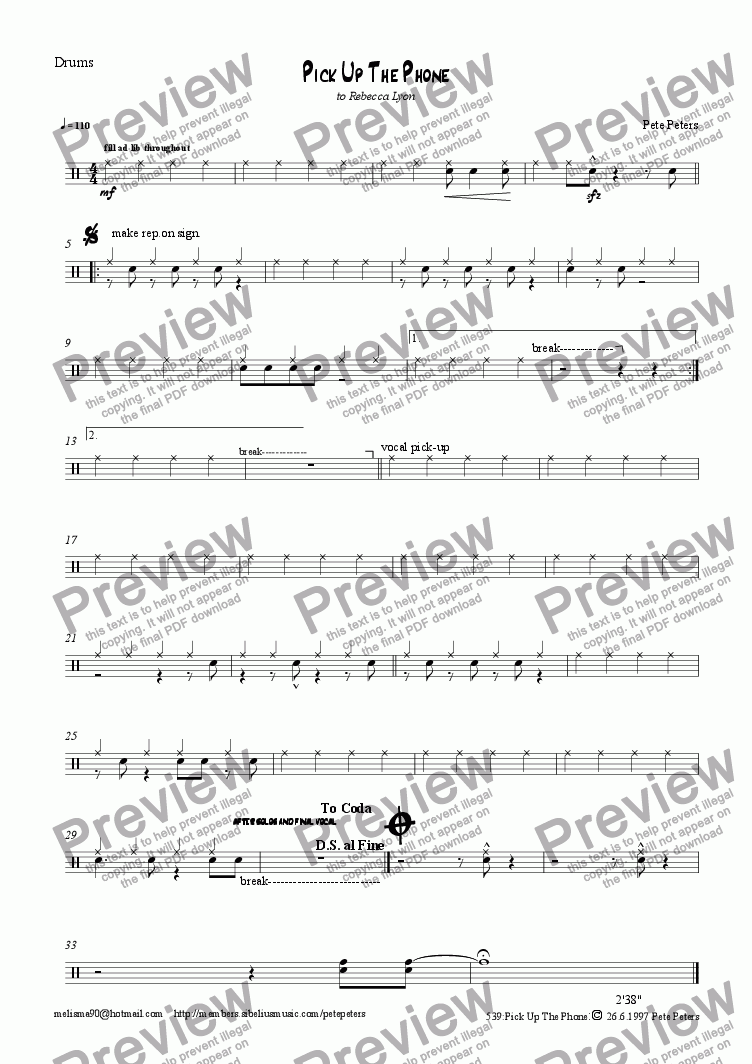 page one of the Drums part from Pick up the Phone. Jazz pop vocal 6tet]