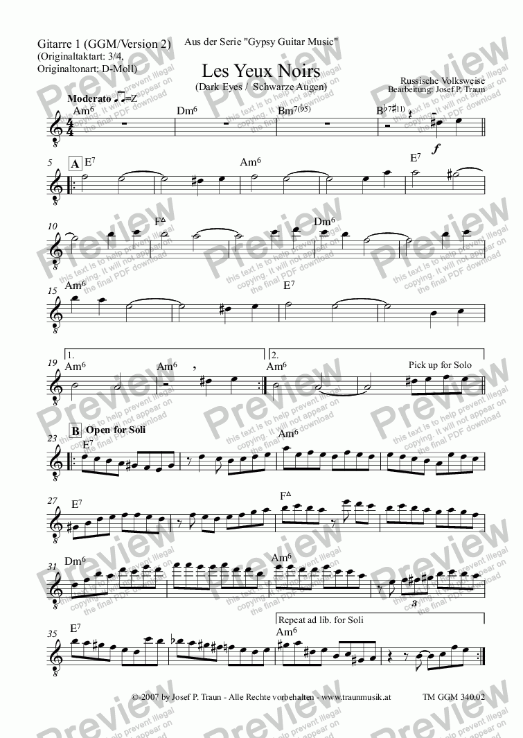 page one of the Gitarre 1 (GGM) part from Les Yeux Noirs (GGM/Version 2)