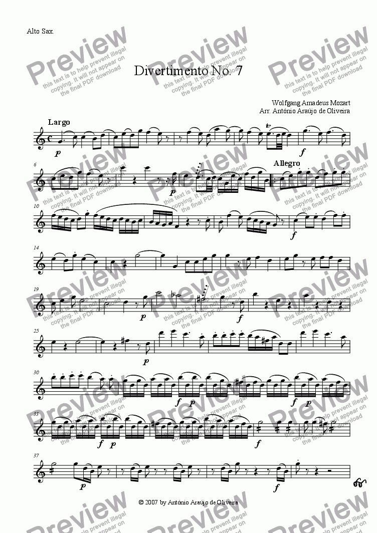 page one of the Alto Sax part from Divertimento No.7 in D major, K.205