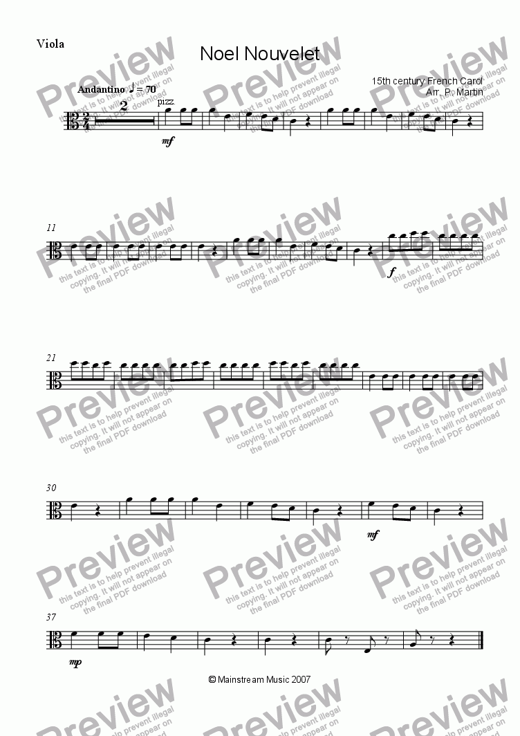 page one of the Viola part from Noel Nouvelet
