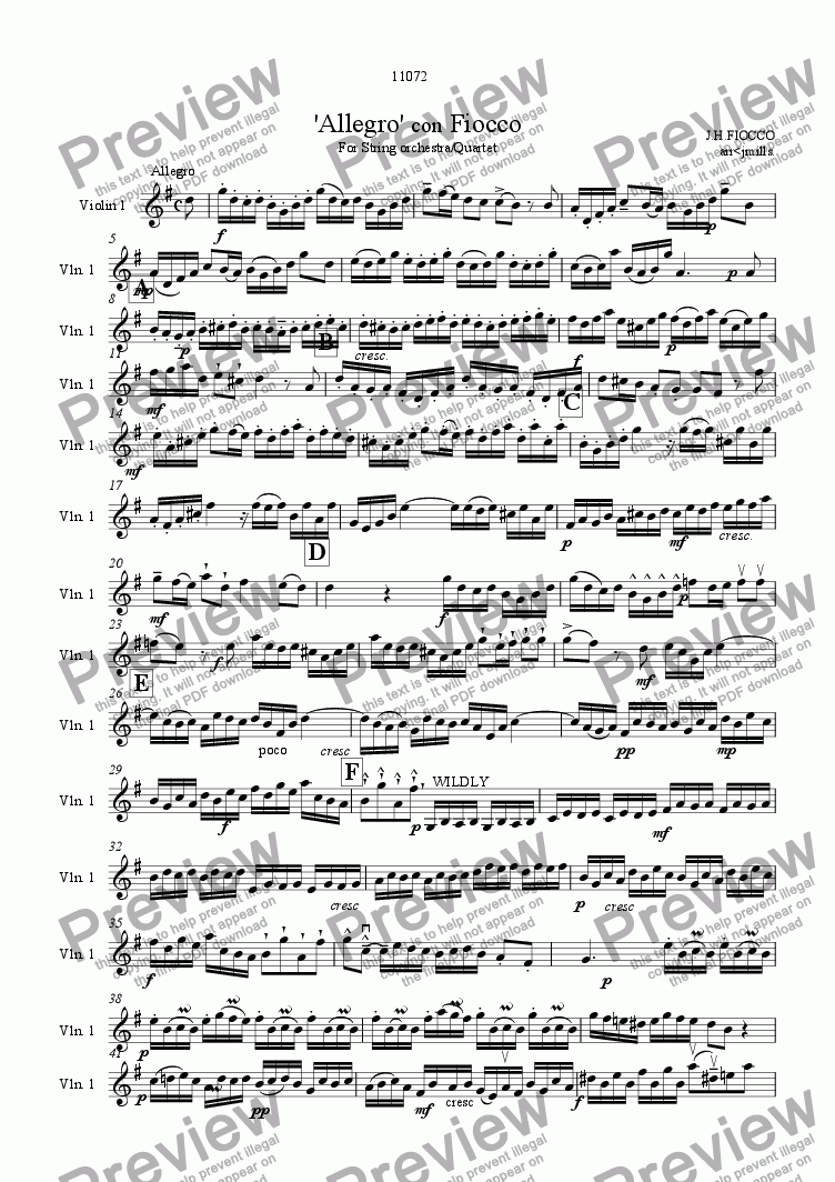 page one of the violin 1 part from 'Allegro 'con Fiocco