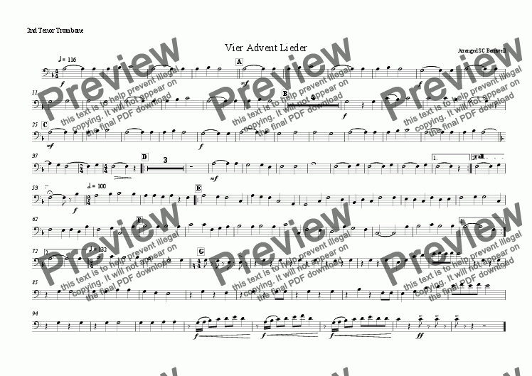 page one of the 2nd Trombone part from Vier Advent Lieder