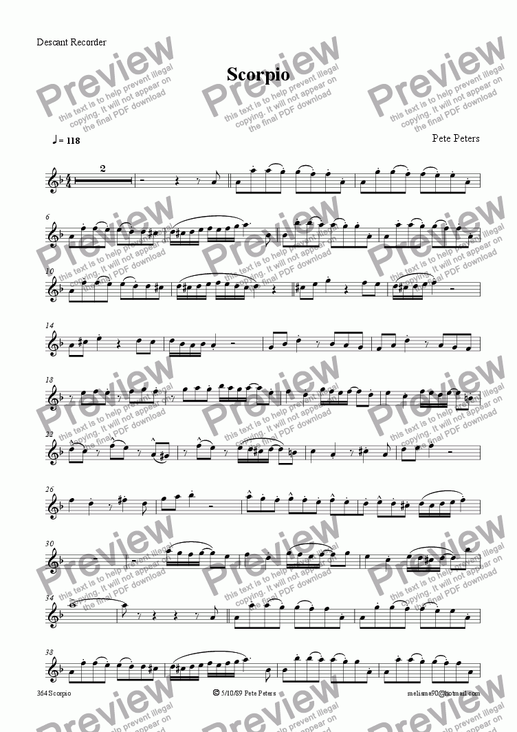 page one of the Solo instrument in C part from Scorpio [Tango]