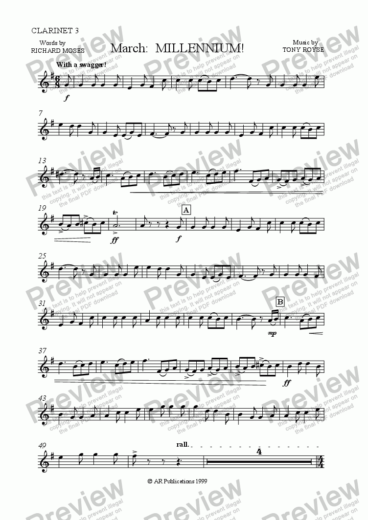 page one of the Clarinet 3 in B flat part from March: MILLENNIUM  for Band