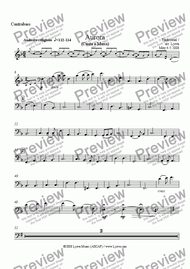page one of the Contrabass part from Aurora (Dell'Aurora Tu Sorgi Pi� Bella), Canta A Maria
