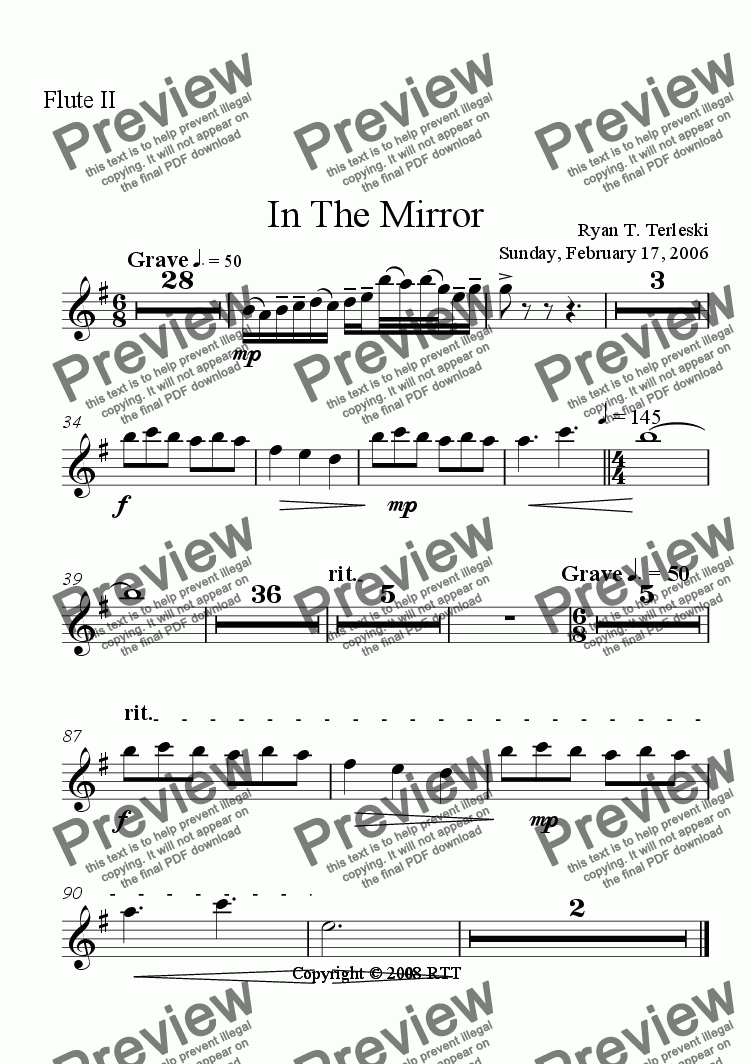 page one of the Flute II part from In the Mirror
