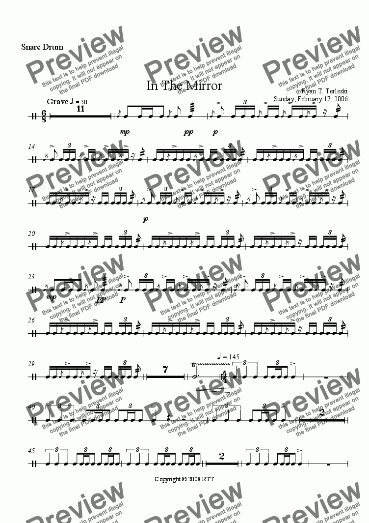page one of the Snare Drum part from In the Mirror