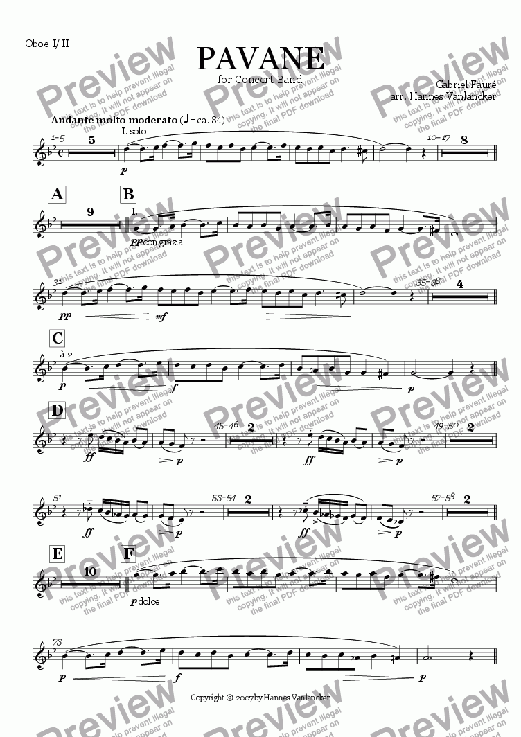 page one of the Oboe I/II part from Pavane