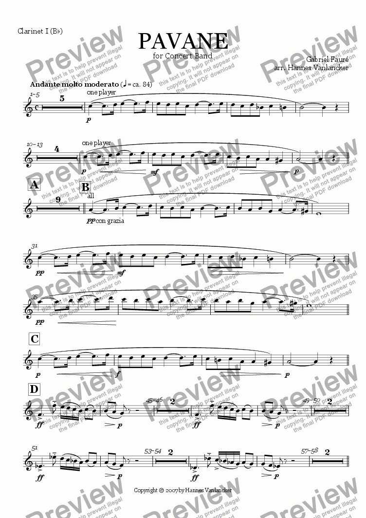 page one of the Clarinet Bb 1 part from Pavane