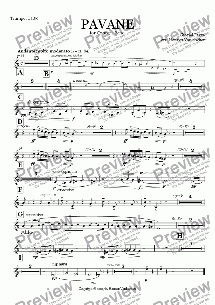 page one of the Trumpet I Bb part from Pavane