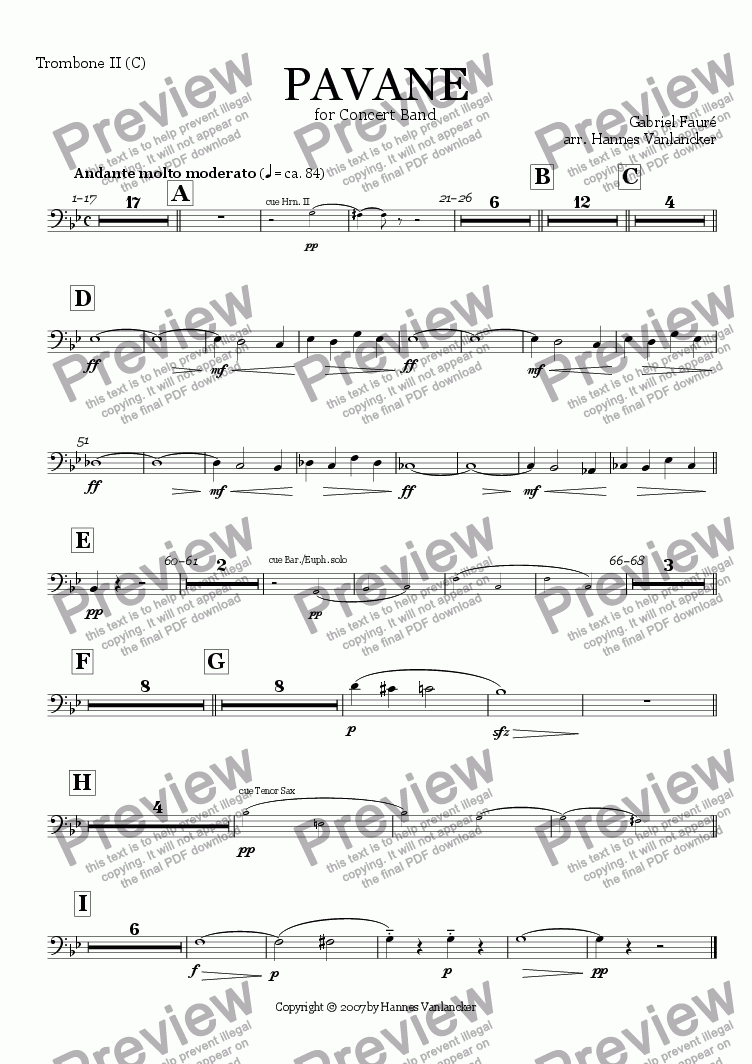 page one of the Trombone II C part from Pavane