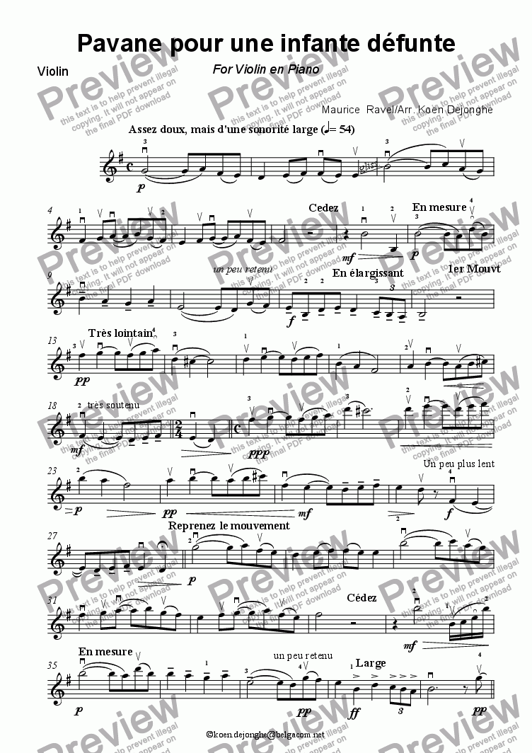 "page one of the Violin part from ""Pavane pour une infante d�funte"" for violin and Piano"