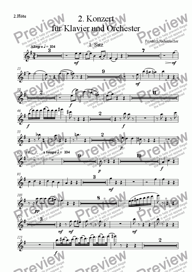 page one of the 2.Fl�te part from 2. Konzert fuer Klavier und Orchester
