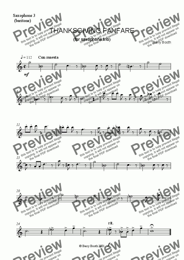 page one of the Sax 3 (baritone) part from Thanksgiving Fanfare (saxophone trio)