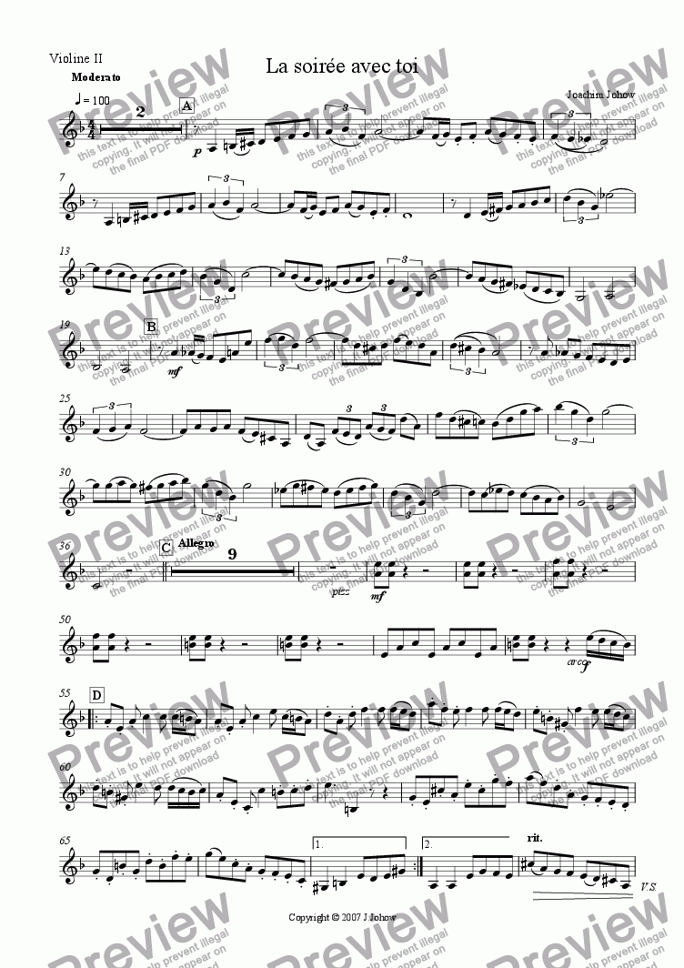 page one of the 2.Vl part from La soiree avec toi (String Orchestra and Piano)