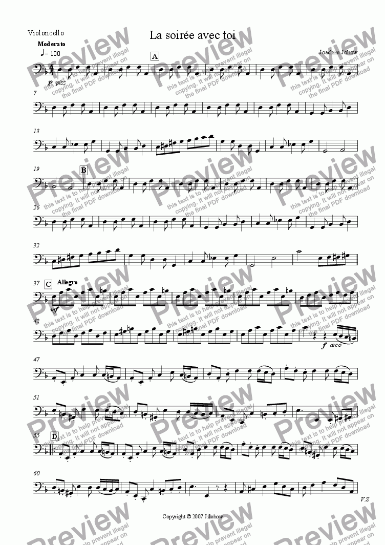 page one of the Vlc part from La soiree avec toi (String Orchestra and Piano)
