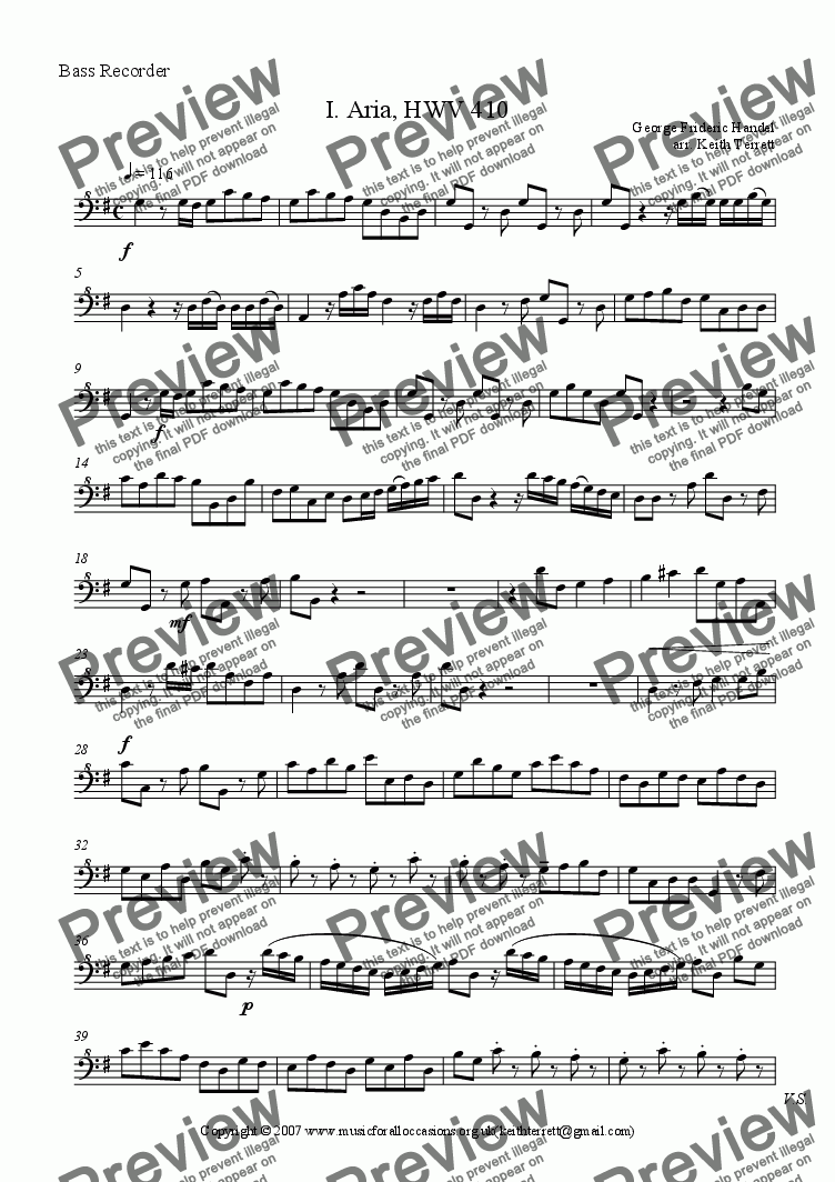 page one of the Bass part from Aria for Recorder Consort (HWV410)