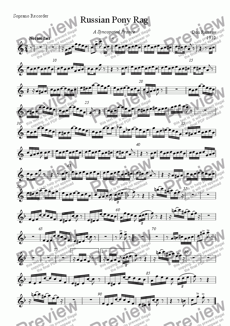 page one of the Soprano recorder part from Russian Pony Rag