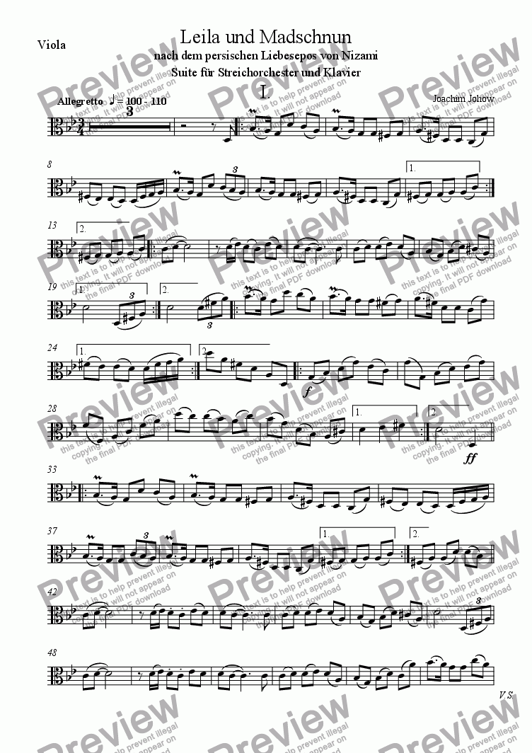 page one of the Vla part from Leila 1 (Suite for String Orchestra and Piano)