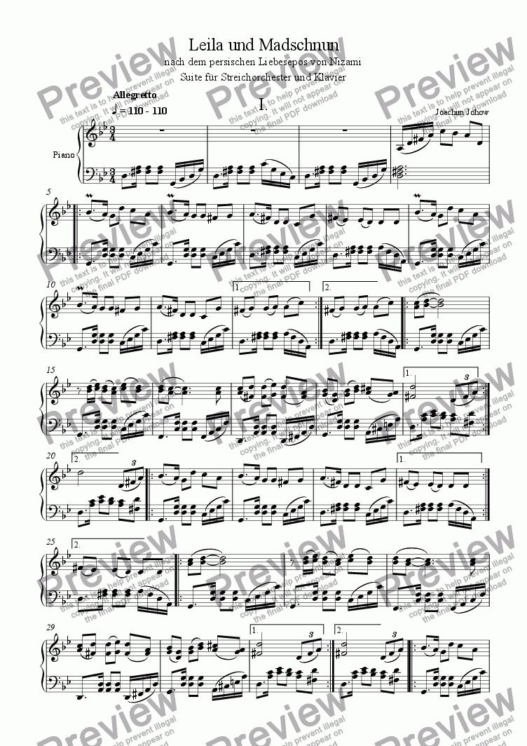 page one of the Piano part from Leila 1 (Suite for String Orchestra and Piano)