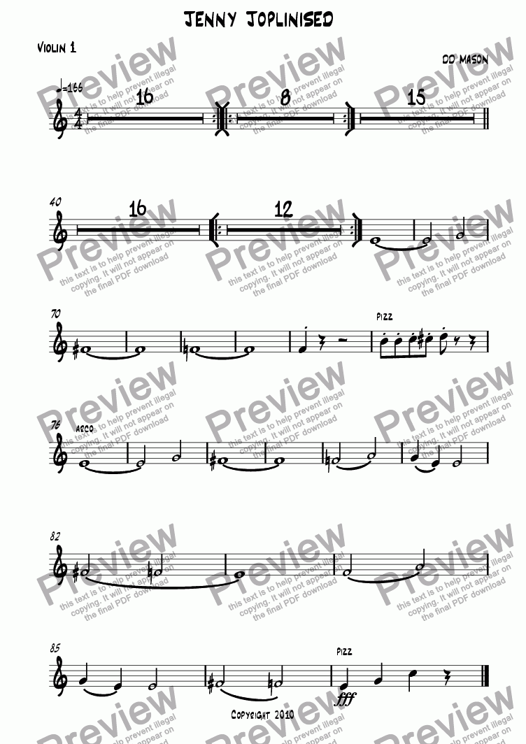 page one of the Violin 1 part from Jenny Joplinised