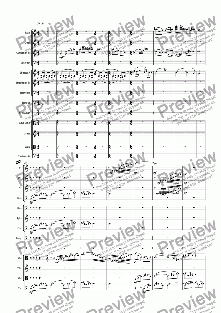 page one of the Violin part from 2nd Movement of the Concerto for Viola and Orchestra