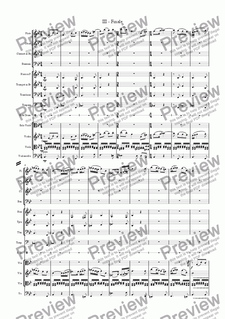 page one of the Timpani part from 3rd and Final Movement of the Concerto for Viola and Orchestra