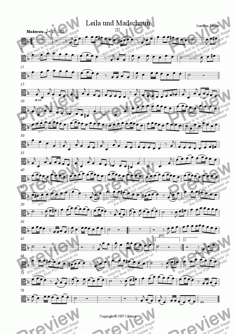 page one of the Vla part from Leila 3 (Suite for String Orchestra and Piano)