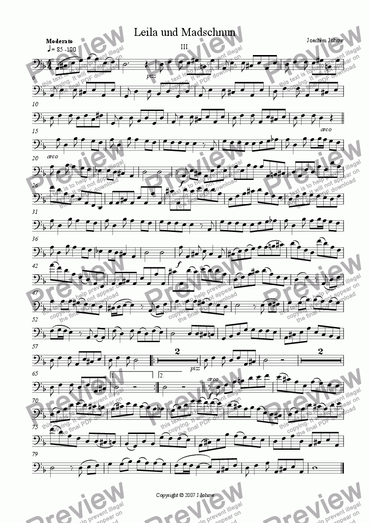 page one of the Vlc part from Leila 3 (Suite for String Orchestra and Piano)