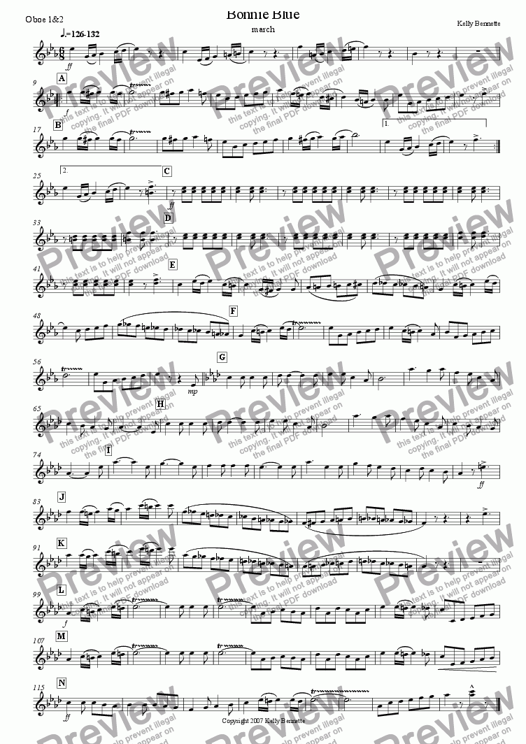 page one of the oboe 1&2 part from Bonnie Blue March