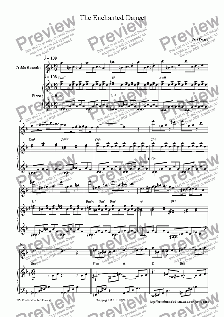 page one of the Recorder or Flute part from Enchanted Dance