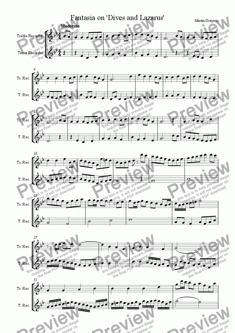 page one of the Treble Recorder part from Variations on 'Dives and Lazarus'