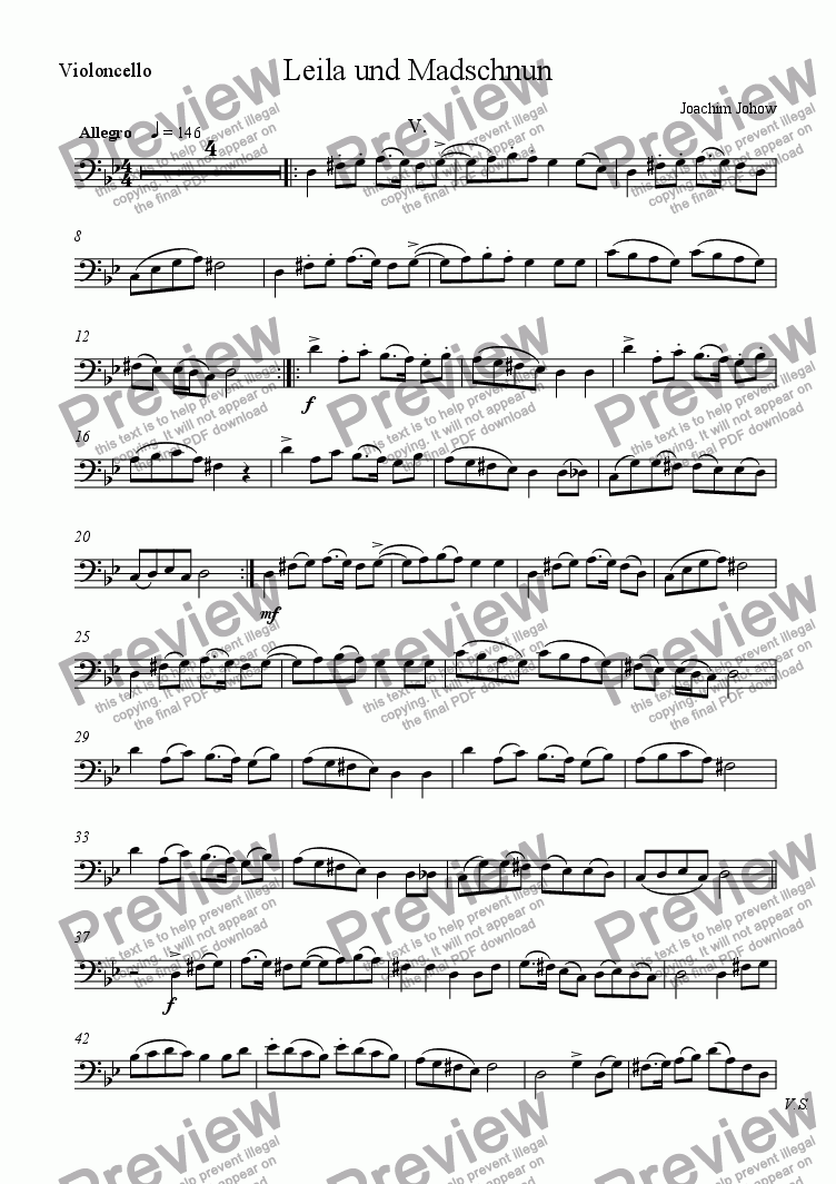 page one of the Vlc part from Leila 5 (Suite for String Orchestra and Piano)