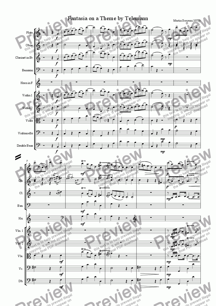 page one of the Flute part from Fantasia on a Theme by Telemann