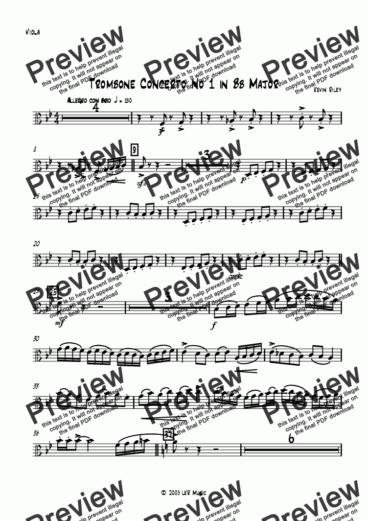 page one of the Viola part from Trombone Concerto No 1 in Bb Major